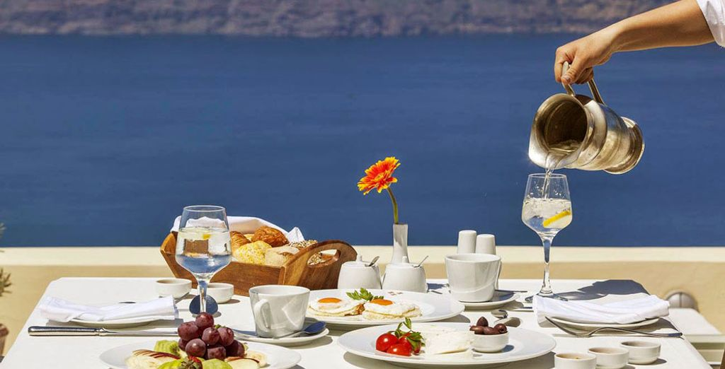 Start the day with the hotel's breakfast against the backdrop of the azure waters of the Mediterranean