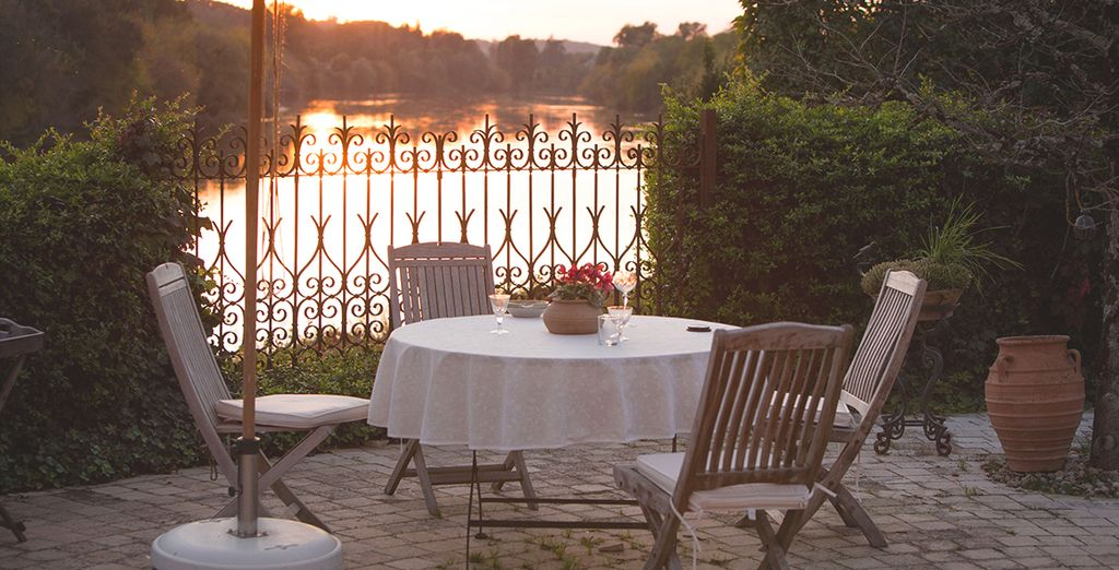 Maybe in a romantic, dreamlike setting overlooking the river