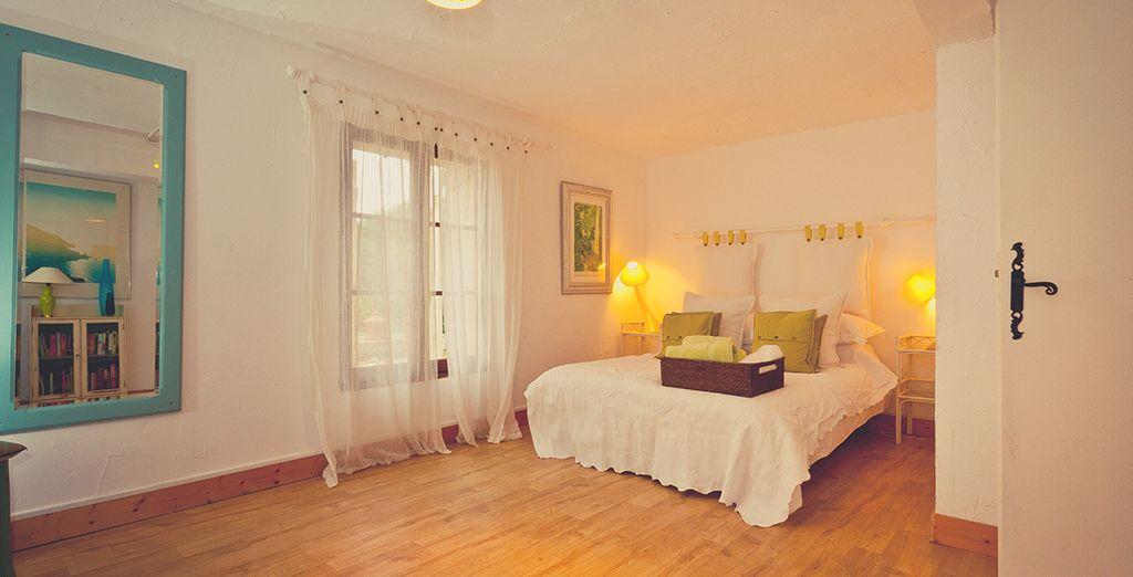 The first bedroom exudes effortless sophistication