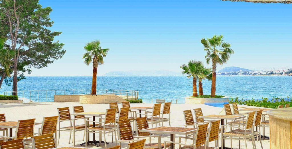 Or eat out on the terrace to make the most of the sunny Med weather