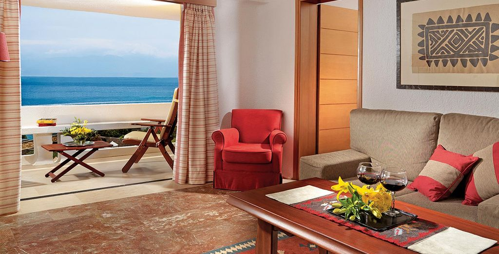 From your spacious rooms (pictured: Sea View Suite)
