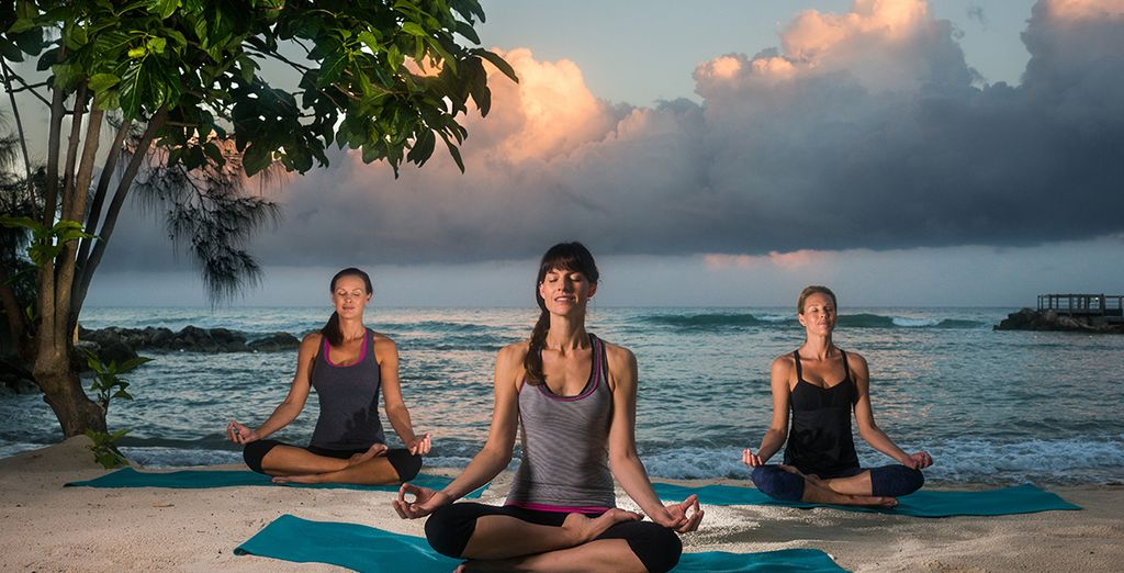 Or realign your inner chakras with some blissful beach yoga