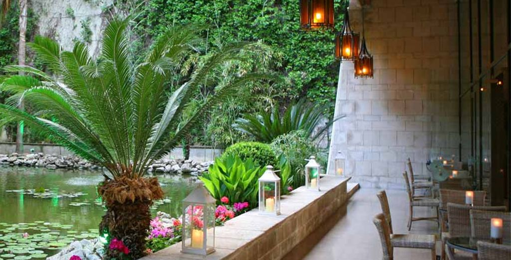 Or the tranquil surrounds of the waterfall bar