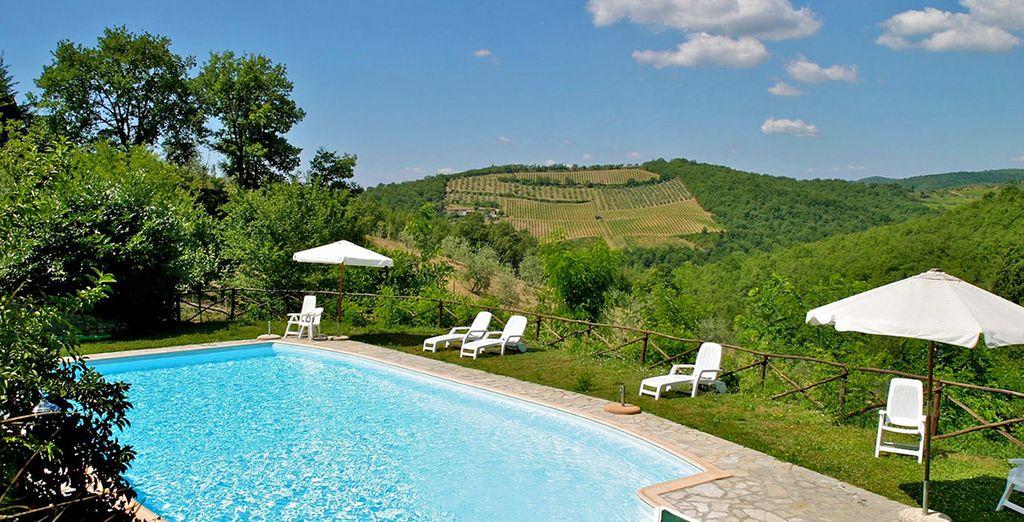 Take a refreshing dip in the swimming pool