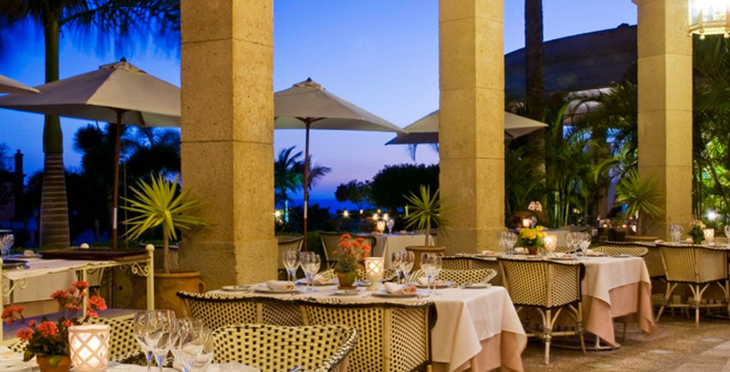 Enjoy delicious food in the restaurant