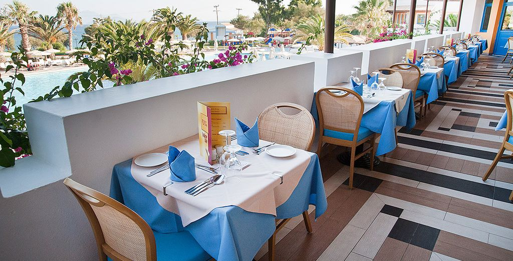 Enjoy delicious food during your half board basis with an amazing view