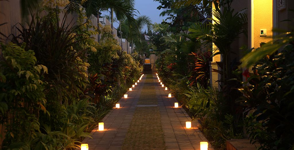 Walk up the tranquilly lit path