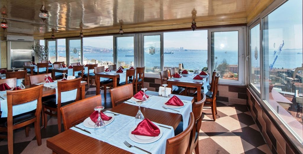Enjoy daily breakfast with views of the Bosphorus