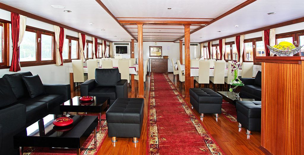 Eat breakfast and lunch onboard during your half board basis