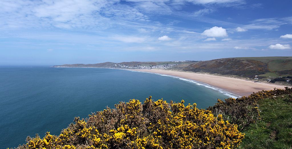 Famous Woolacombe Bay is less than an hour away