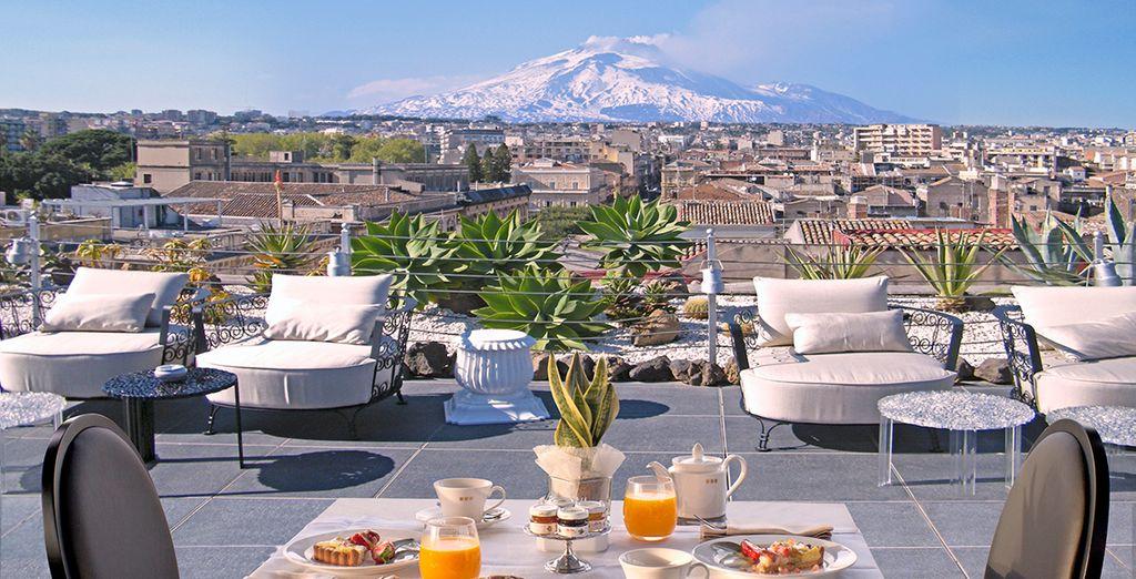 Rooftop views over Mount Etna