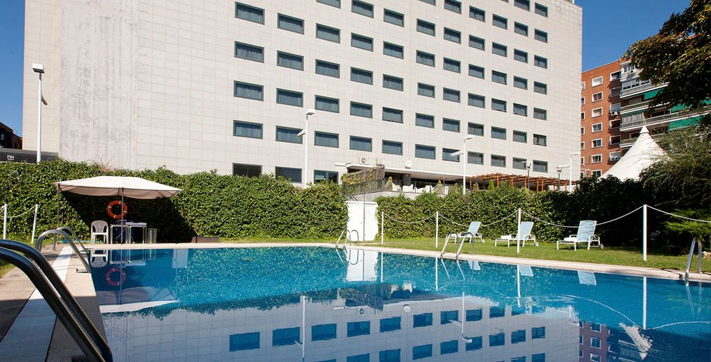 If you're visiting during the warmer months, you can take advantage of the outdoor pool!
