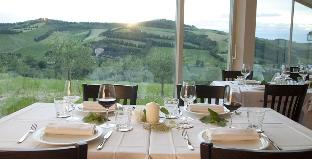 Savour meals overlooking the sprawling countryside
