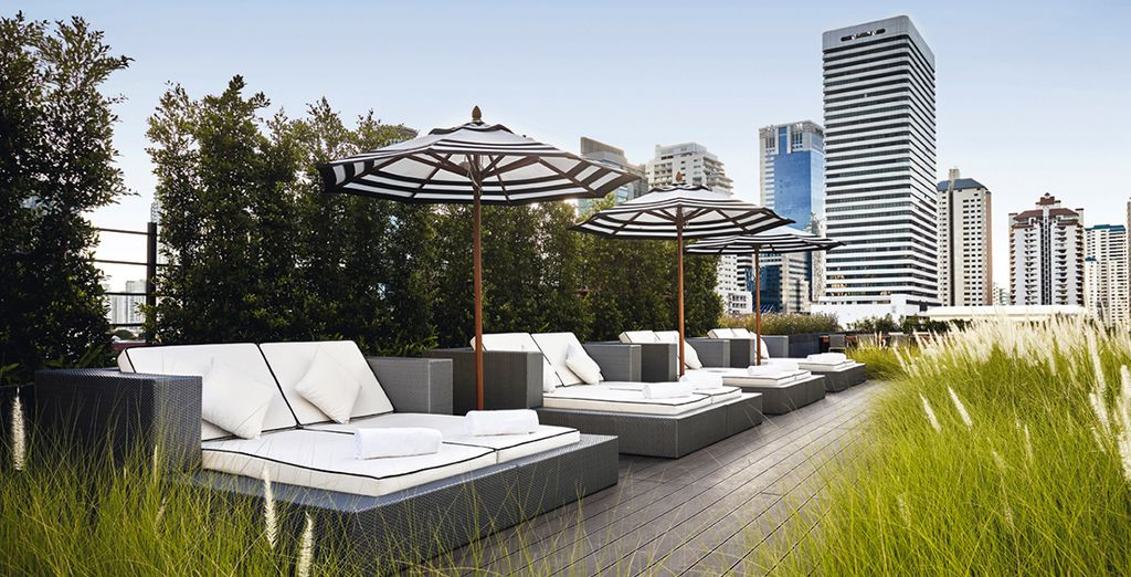 Head up to the roof terrace