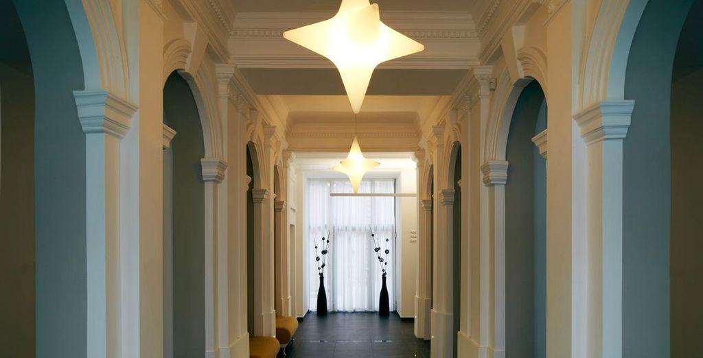 Walk through its elegant hallway