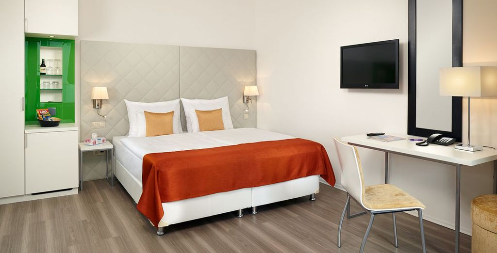And find your carefully designed Superior Room - lie in with your late check out time of 12pm