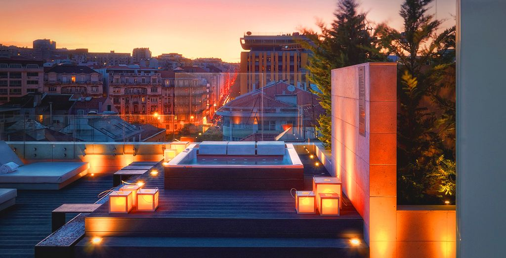 Unwind in a rooftop Jacuzzi overlooking Lisbon