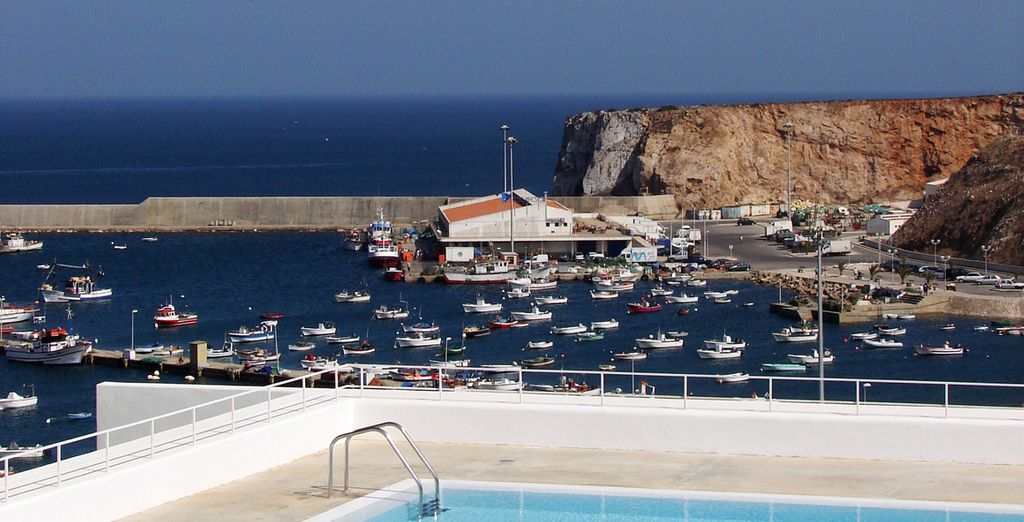 A pool overlooking the charming fishing village