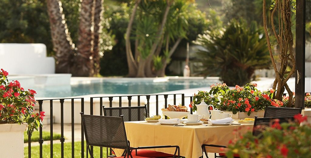Outdoors on the terrace if weather permits
