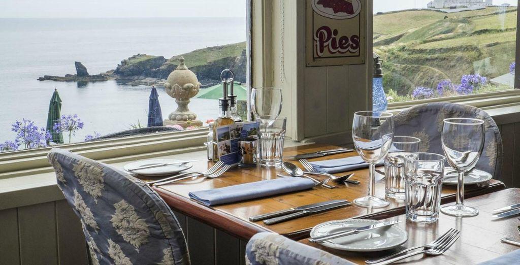 Enjoy dinner overlooking the hotel's bay