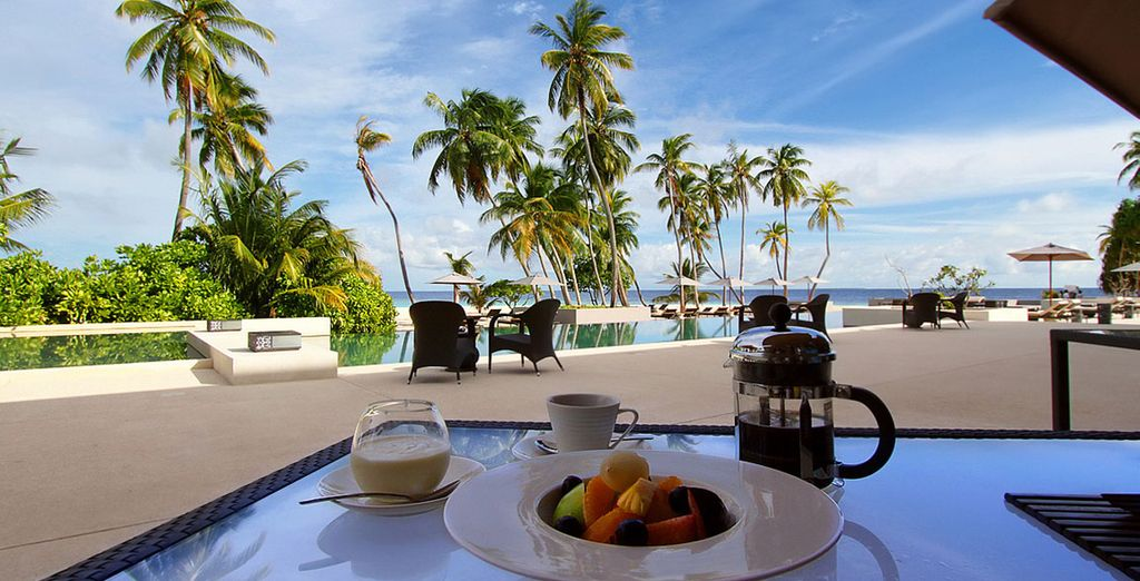 Gaze at these views as your breakfast on fresh tropical fruit...