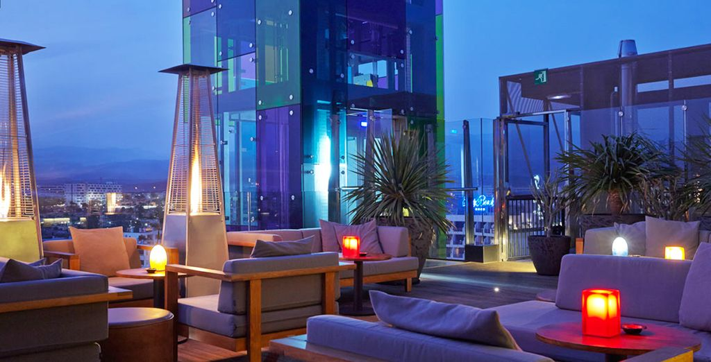 Ending your night at the rooftop bar...