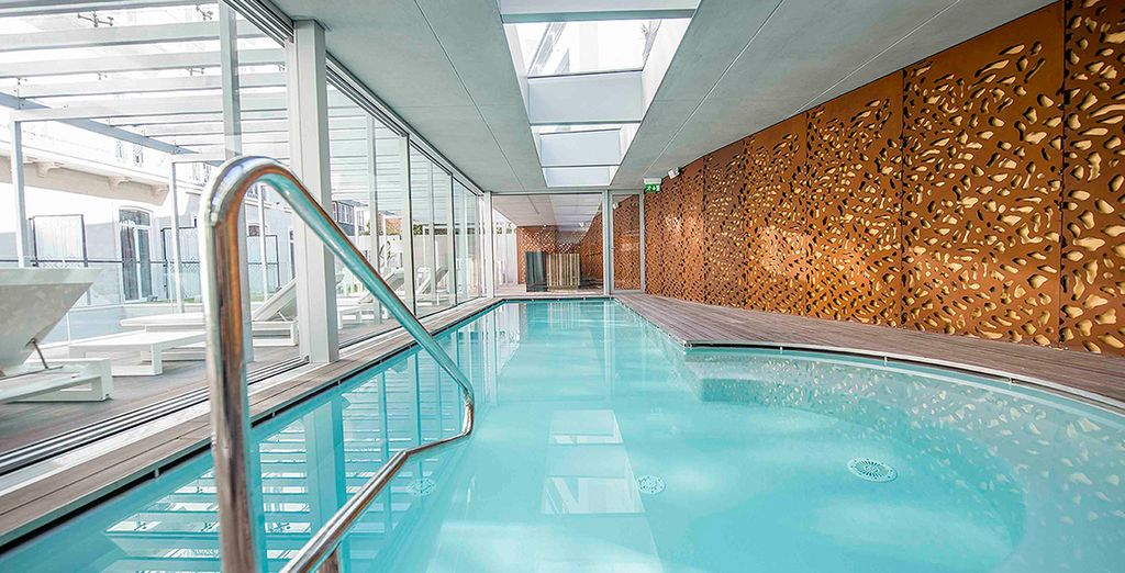 Take a dip in the the indoor pool after your day out