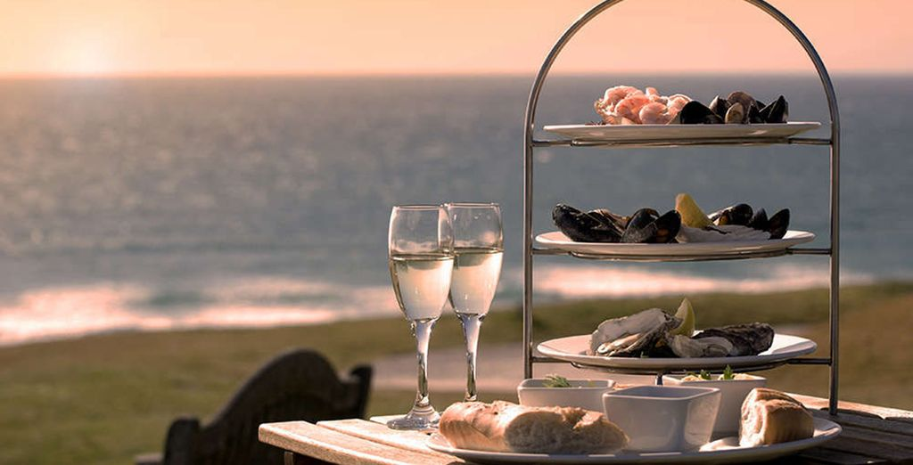 On sunny days, afternoon tea can be enjoyed al-fresco on the sea-view terrace.