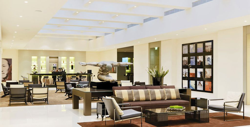 Plan your day in the light-filled lobby