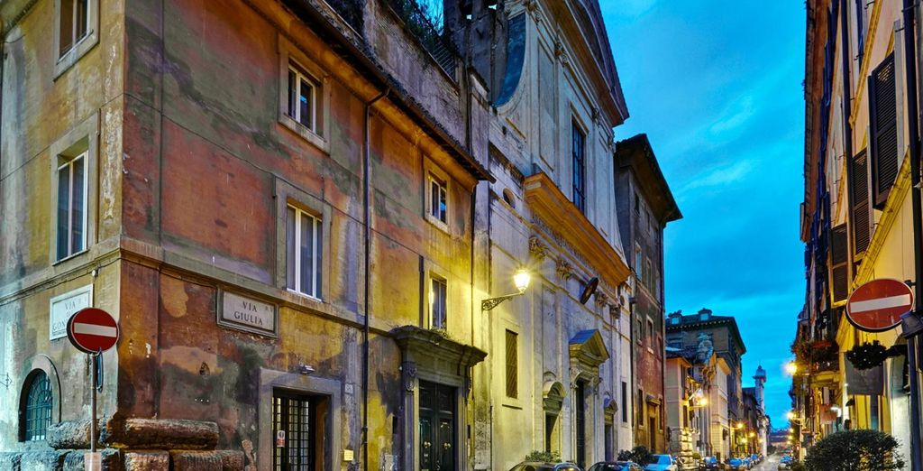 Return to the quiet, cobbled street where your hotel is located
