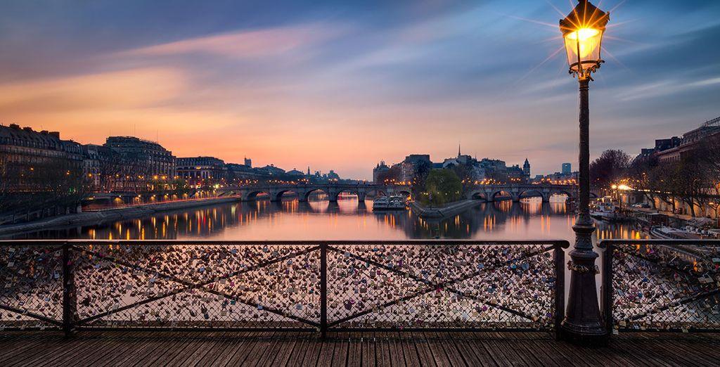 As night falls on this romantic city
