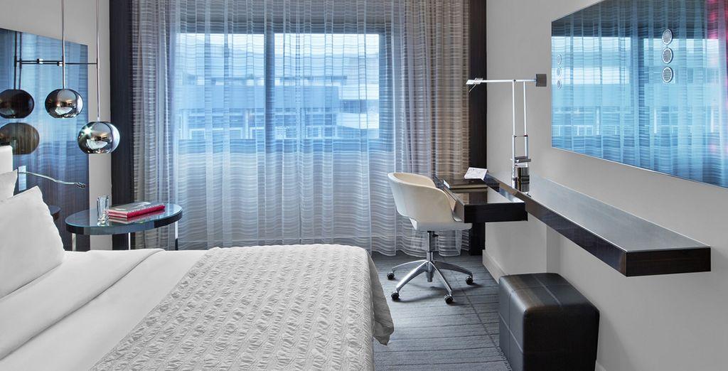Your spacious room is sleek and stylish