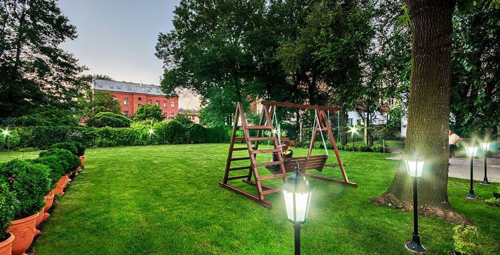 Located in two nineteenth century buildings that sit on a lush courtyard