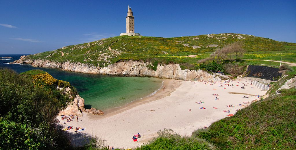An relax on the beaches near La Coruna, Spain