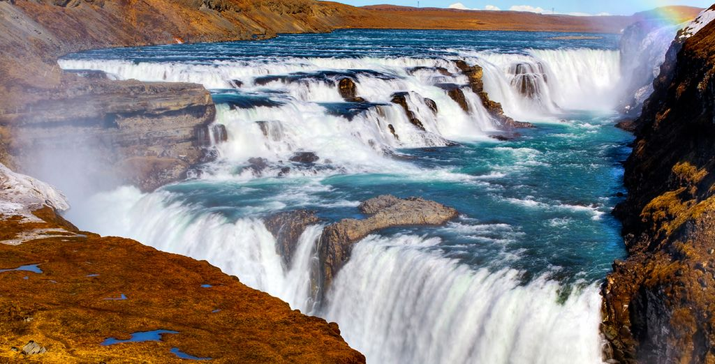 Marvel at the thundering Gullfoss Waterfall