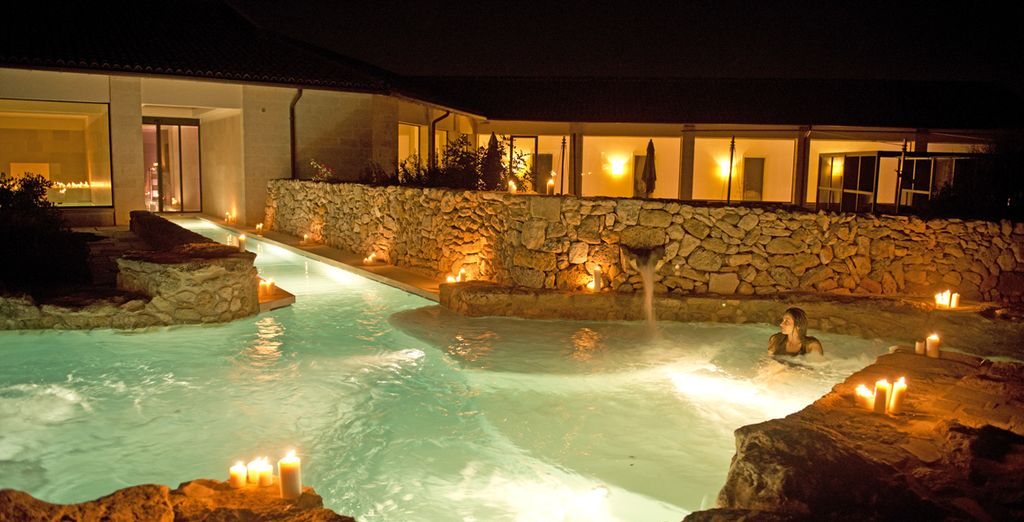 Take a romantic dip under the stars in the seasonal pool
