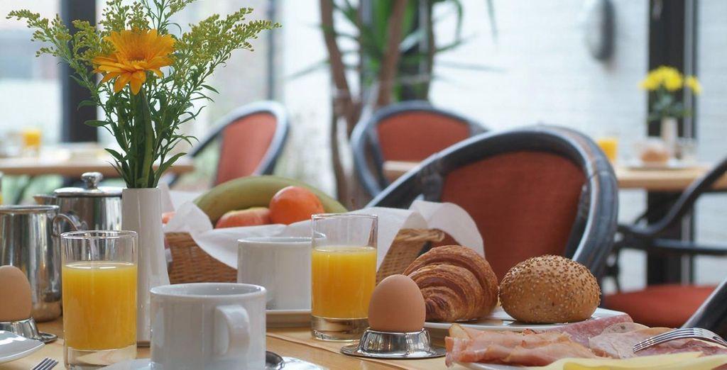 Fill up on the buffet breakfast