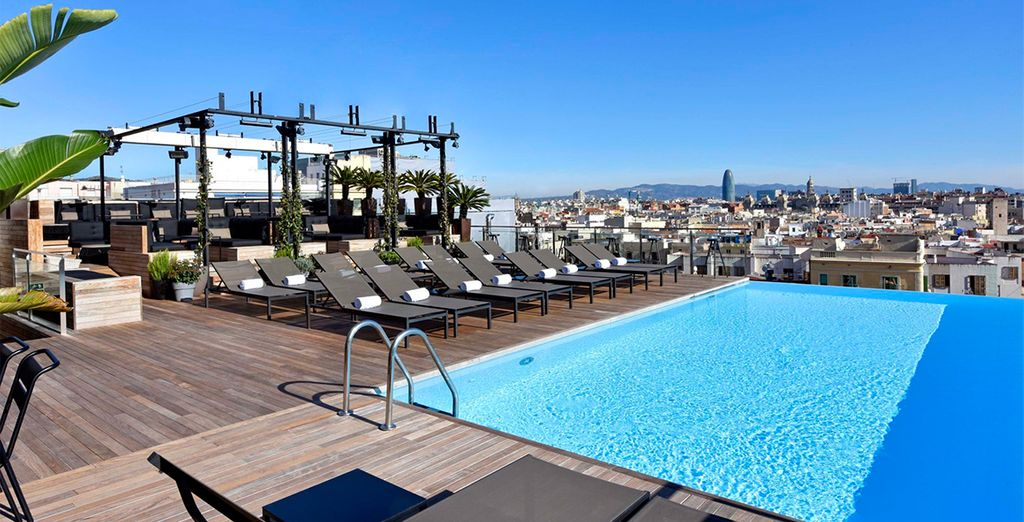 Enjoy the rooftop infinity pool