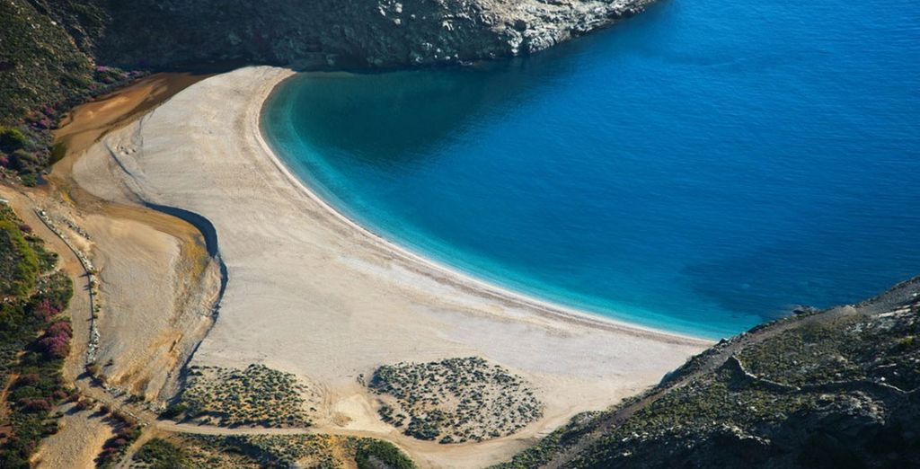The nearest beach has been voted one of the top four in Greece