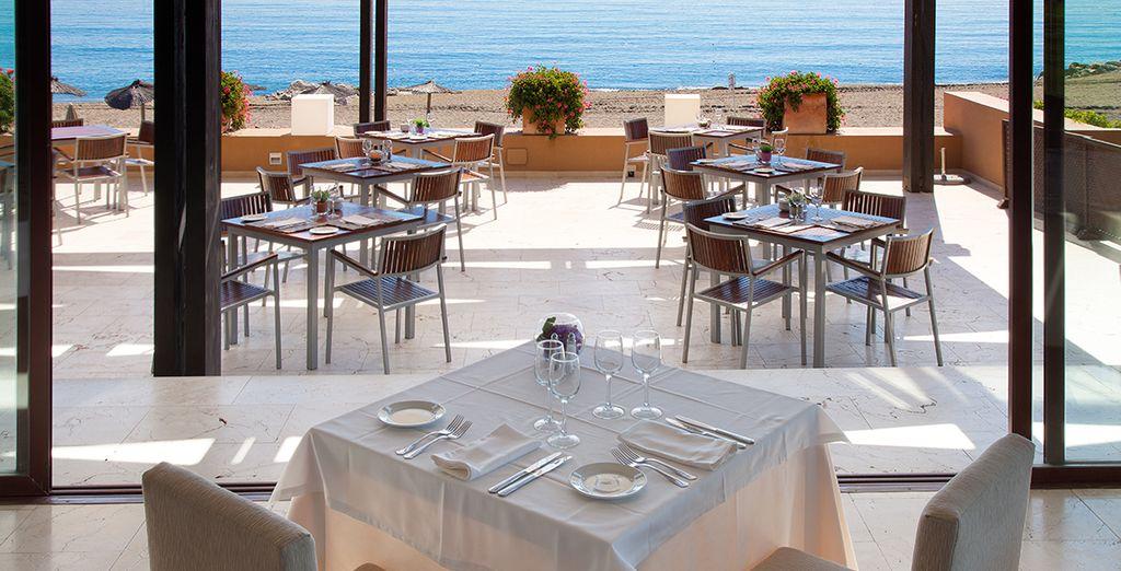 Savor exquisite dishes while enjoying sea views