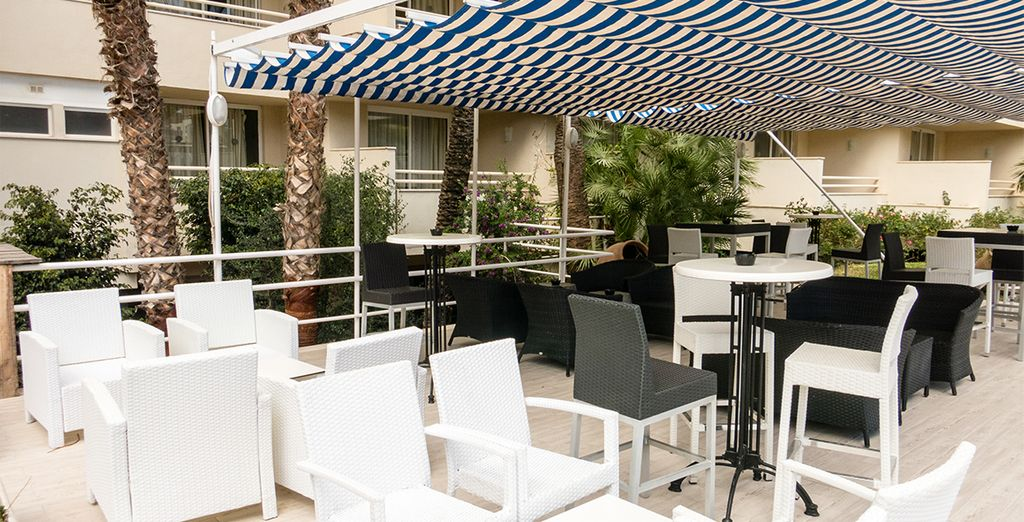 Or outside on the sunny terrace