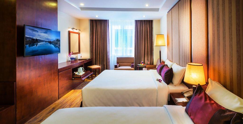 Sleek modern rooms await you