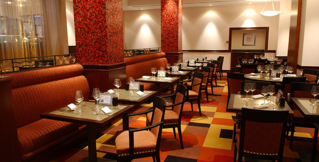 Guests can try local specialties at the hotel restaurant