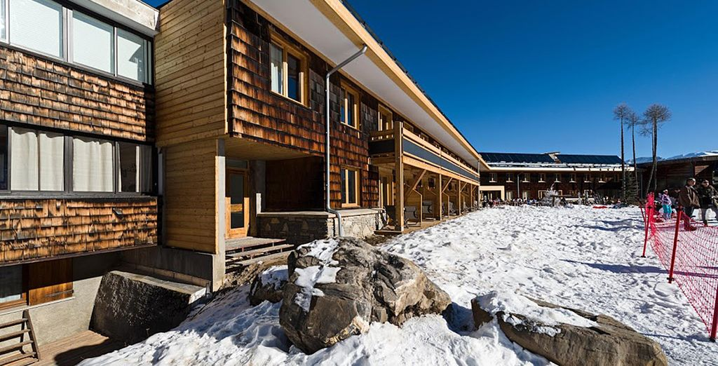 Marmotel is an Alpine-inspired hotel with direct access to the slopes