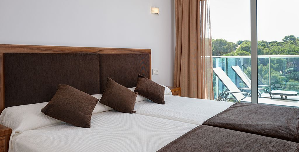 Your room features a zen and uncluttered ambiance
