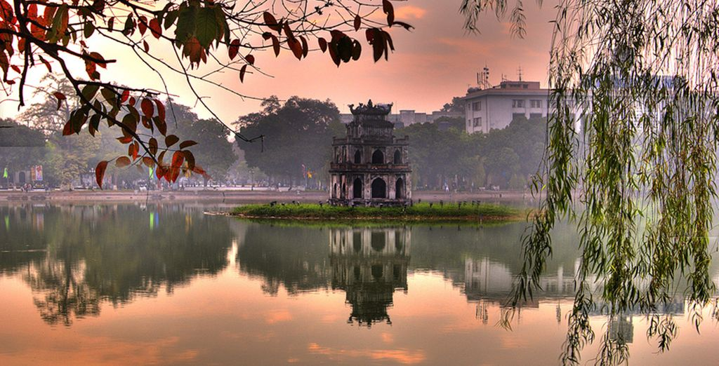 Begin in Hanoi, Vietnam, where you will find ancient temples...