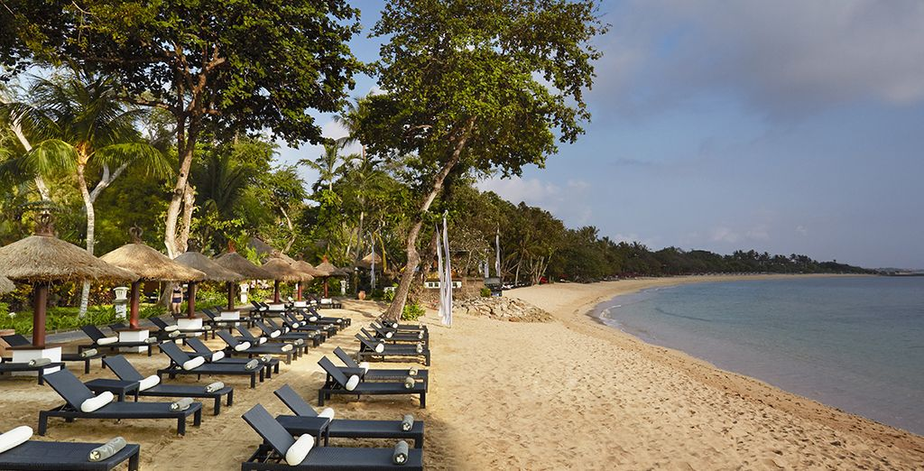 Or on the stretch of private beach