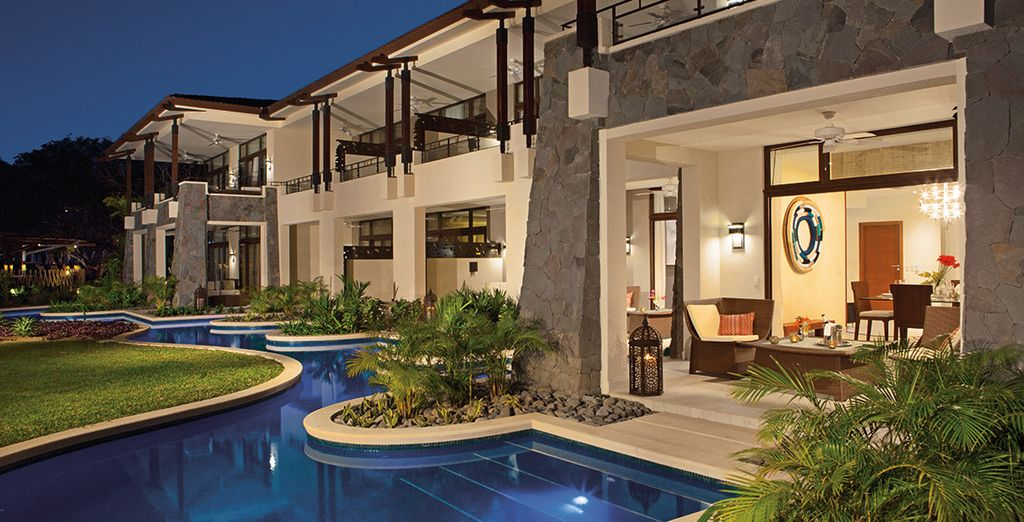 Swim out to a cooling pool from your terrace