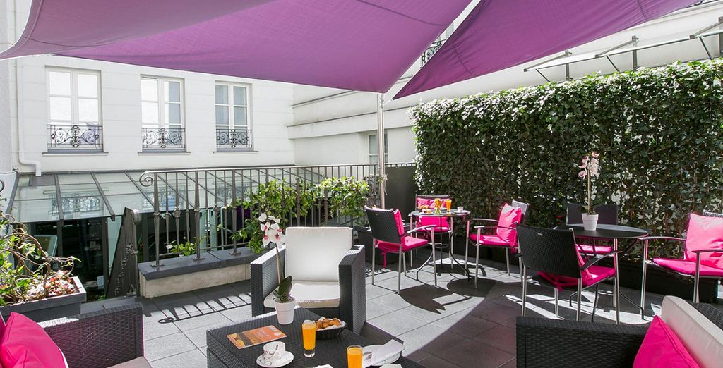 Or on the sunny terrace in summer months
