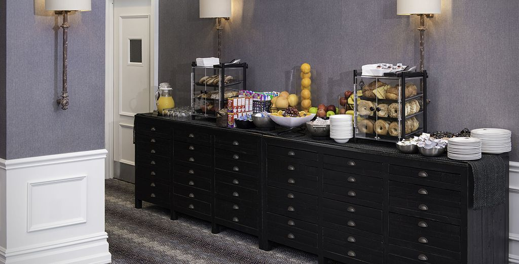 Grab a New York style bagel from the buffet